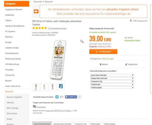 [NBB] AVM FRITZ!Fon C4 für 39€ inkl Versandkosten; max zwei pro Kunde