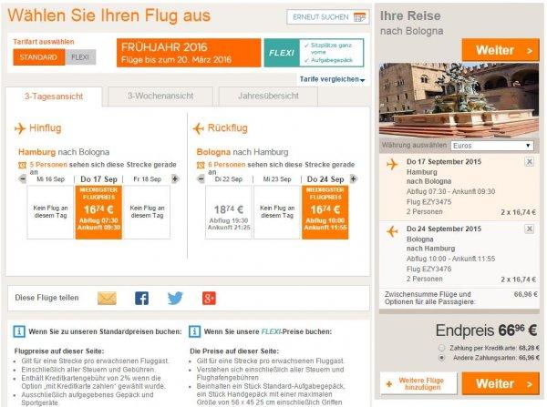 [Flüge Easyjet] 2 Personen nach Italien und andere günstig im September