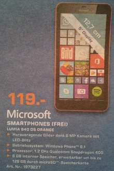 [lokal Saturn Göttingen] Microsoft Lumia 640 Dual-Sim orange für 119€