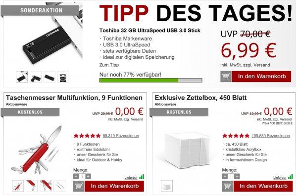 Toshiba 32GB USB Stick 3.0 + Gratisartikel für 12,96€ inkl. Versand