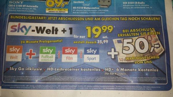 sky Welt + 1 Paket + sky Go + HD Leihreceiver für 19.99€ mtl. zzgl 49€ Anschlussgebühr + 50€ Gutschein