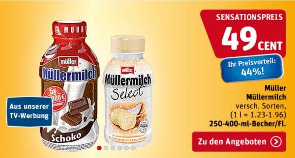 [ REWE Bundesweit ] Müllermilch div Sorten 250-400 ml vom 20.8 - 21.08 44% billiger