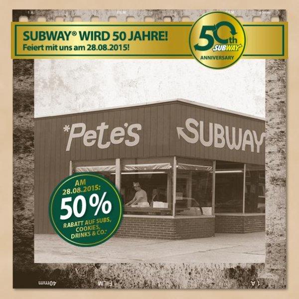 [NRW] 50% Rabatt bei Subway auf alles außer Sub des Tages am 28. August