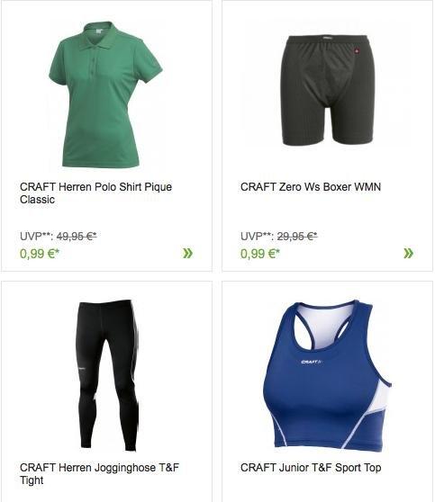 [Outlet46] Craft Sportkleidung für Damen/Herren/Kinder für 0,99€ inkl. VSK