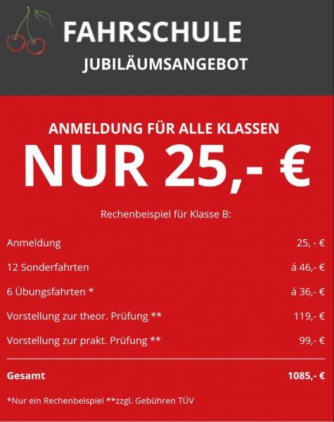 [Frankfurt und Offenbach] Fahrschule Kirsch Jubiläumsangebot Anmeldung nur 25€
