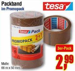 [CENTERSHOP NRW/RP] 3 Rollen Tesa Klebeband (Packband) 66m x 50mm (198m) für 2,99€