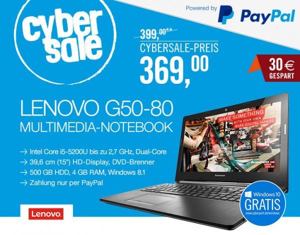 [Cyberport]Notebook Lenovo G50-80 Core i5  Windows 8.1 für 369€