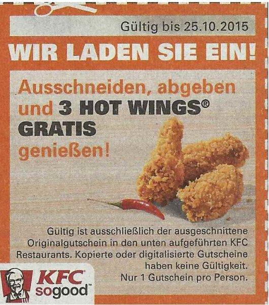 [EinkaufAktuell Berlin / Köln] KFC 3 Hot Wings gratis mit Coupon