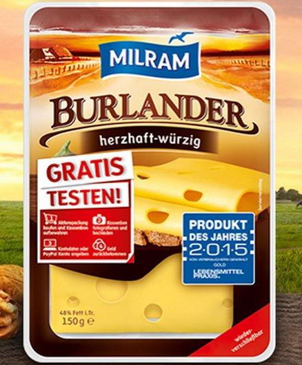 [BUNDESWEIT] Milram Burlander Herzhaft-Würzig 150g Gratis Testen Aktion bis 30.11.2015