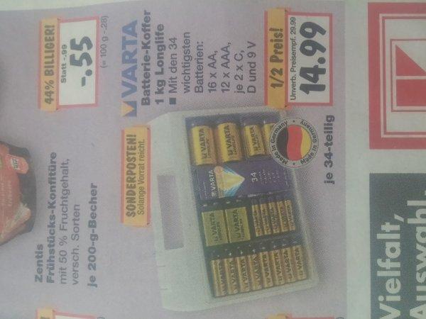 Varta Batterie-Koffer 1kg Longlife 34 Stück [Lokal]