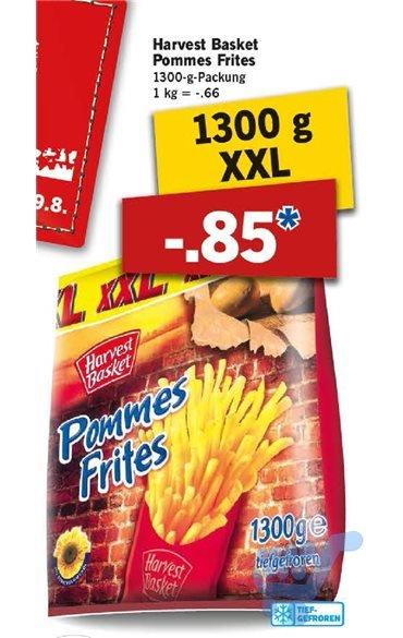 Lidl, Harvest Basket Pommes Frites 1300-g-Packung für 0,85 € (1 kg = 0,66 €), vom 24. 8. 2015 - 29. 8. 2015
