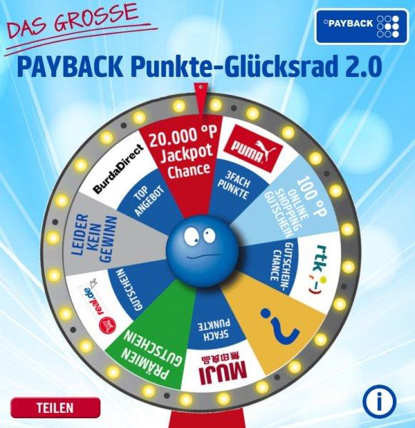 [ES LÄUFT ;)] PAYBACK Punkte-Glücksrad 2.0 [Sofortgewinn bis 200°P=2€ möglich, 20.000°P=200€ Chance]