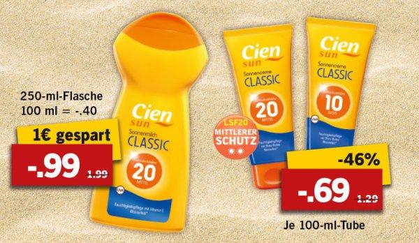 Cien Sonnencreme LSF 20 von Lidl - gut im Test - 250ml 0,99 Euro statt 1,99 Euro (50% gespart)