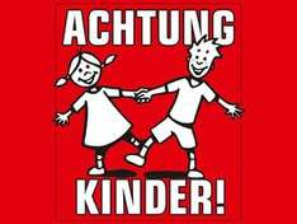 "Gratis ""Achtung Kinder"" Plakat bei Radio Westfalica"