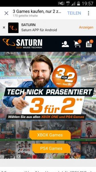 Saturn 3 für 2 Aktion alle PS4 und XBox One Spiele