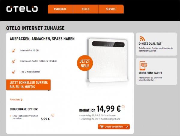 DSL-Ersatz otelo Internet Zuhause 15 GB 14,99 € + (24,99 Euro Anschluss plus 49,99 Euro Hardware)