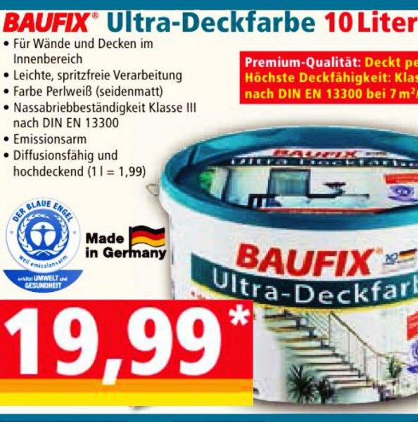 Premium Deckfarbe von Baufix, Deckkraft Klasse 1 !, 10 Liter für nur 19,99€ bei [NORMA]