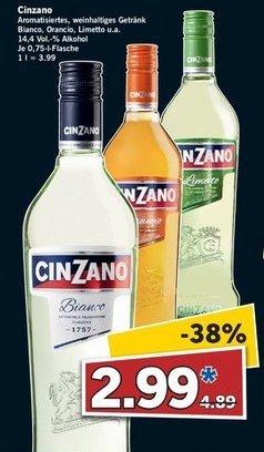[Lidl] Cinzano, versch. Sorten, die 0,75-l-Flasche für 2,99 € (38% billiger) am 29. 8. 2015