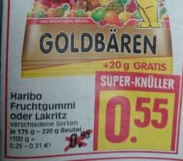 [Herkules] Haribo Goldbären 220gr da 20g gratis (0,25€/100g)