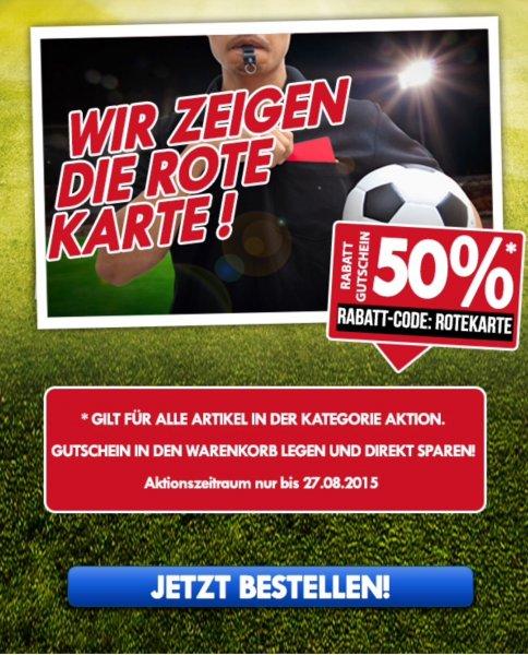 Fan & More 50% auf ausgewählte Artikel, z.B. 4* DFB Trikot ab 27.50 EUR