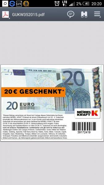 Möbelkraft 20€ Gutschein ab 50 €