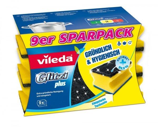 [Amazon-Plusprodukt]Vileda 142596 Glitzi Plus mit Antibac - Gründlich, hygienisch & saugstark - 9er Sparpack  ab 2,54€