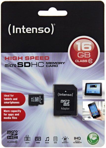 Intenso 16GB Micro SDHC Speicherkarte Class 10 + Card-Adapter für  6,99 €, @Ebay