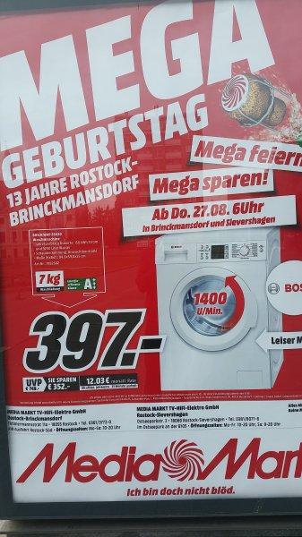 [Lokal Media Markt Rostock] BOSCH WAP 28420 Waschmaschine 7 KG