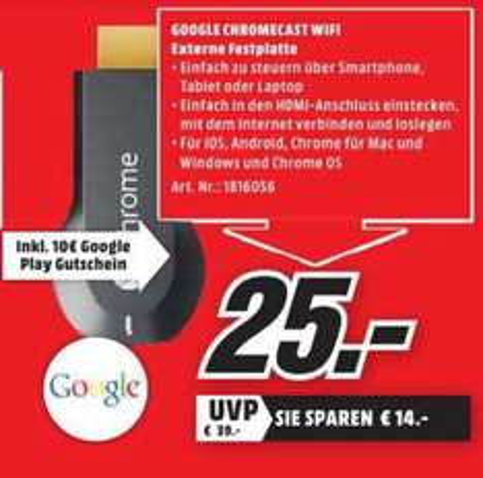 [Lokal Rostock Media Markt] Google Chromecast für 25,- incl. 10,- Google Play Guthaben
