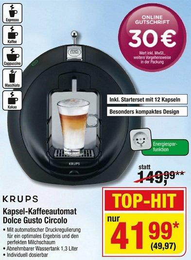 [Metro] - deutschlandweit - Krups Kaffeeautomat Dolce Gusto Circolo 49,97€ + Shop-Bonus im Wert von 30 €