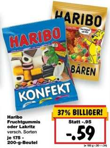[KAUFLAND BUNDESWEIT] Haribo Fruchtgummis/Lakritze 175-250g für nur 0,59€ (Superweekend: 03.-05.09.)