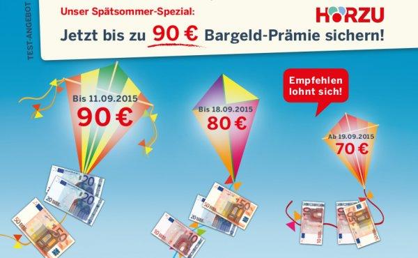 Hörzu Jahresabo für 93,60€ mit 90€ Bargeldprämie