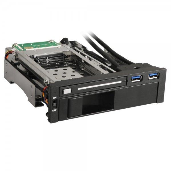"""[Jacob Elektronik] Sharkoon QuickPort Intern Multi für 5,25""""-Laufwerksschacht - 2x USB 3.0, 1x 3,5"""" und 1x 2,5"""" HDDs/SSDs"""
