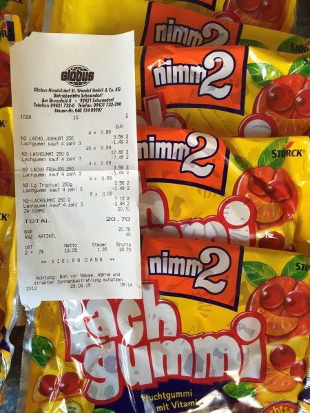 Nimm 2 Lachgummi 4x 250g ( Globus Schwandorf ) für 2,07 € = 0,518€/250g