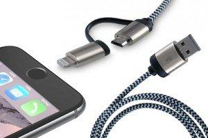 [Micro USB - Lightning] Umflochtenes Aluminium-2-in-1-Ladekabel 5,95€+1,99 Versand