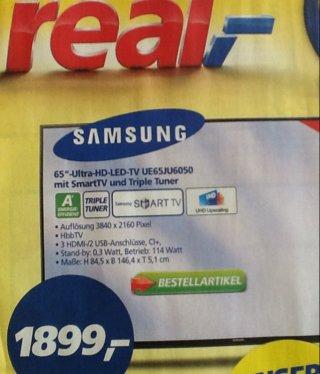 Real [on-/offline] Samsung UE65JU6050 für 1.899,00 €; idealo ab 2.499,00 €; Preisersparnis ca. 24%
