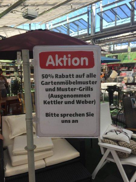 [Lokal Hagebaumarkt Fürstenfeldbruck] 50% auf einige Gartenmöbel und Grills (Ausstellungsstücke)