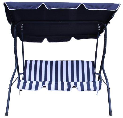 [Amazon.de] Rite Season KHS0022U Hollywoodschaukel Swing, Rahmenkonstruktion Stahl, Bezug Polyester, 3-Sitzer, UV80, blau / weiß
