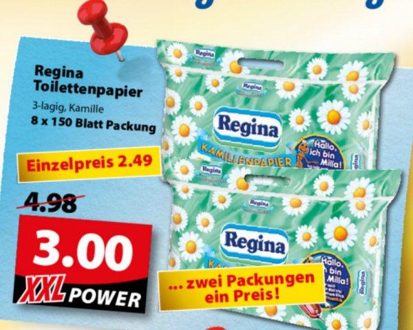 [OLDENBURG] Famila XXL: 2 Packungen Regina Kamille Toilettenpapier (16 Rollen 3-lagig) für 2,00€ (Angebot+Coupon)