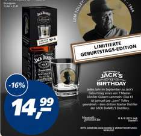 Jack Daniel's 0,7 l inklusive limitiertem Glas für 14,99€ | real