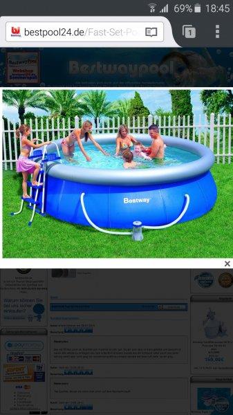 Bestway 57166GS Fast Set Pool Set mit Filterpumpe 366 x 91cm