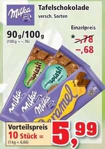[Thomas Philipps] Milka 90/100g Tafelschokolade für 0,68 € (10 für 5,99 €)