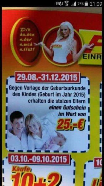 (Poco Einrichtungsmarkt) 25 Euro Gutschein geschenkt für Eltern, die im Jahr 2015 ein Kind bekommen haben