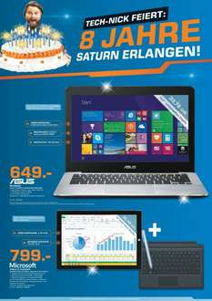 [SATURN Erlangen] Surface Pro 3 mit i5 / 128GB SSD / 4GB RAM + Stift & TypeCover