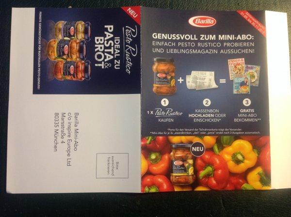 Mini-Abo gratis bei Kauf eines Barilla Pesto Rustico