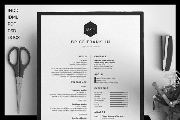 Kostenloses Resume/CV Sample - Brice, Normalpreis $12