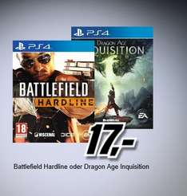 [Mediamarkt Österreich] Dragon Age: Inquisition (Alle Plattformen außer Wii) und Battlefield: Hardline (Alle Platformen außer Wii) für je 17,-€Versand nach Deutschland + 7,-€ (24,-€) Nur bis 08.00 Uhr morgen früh