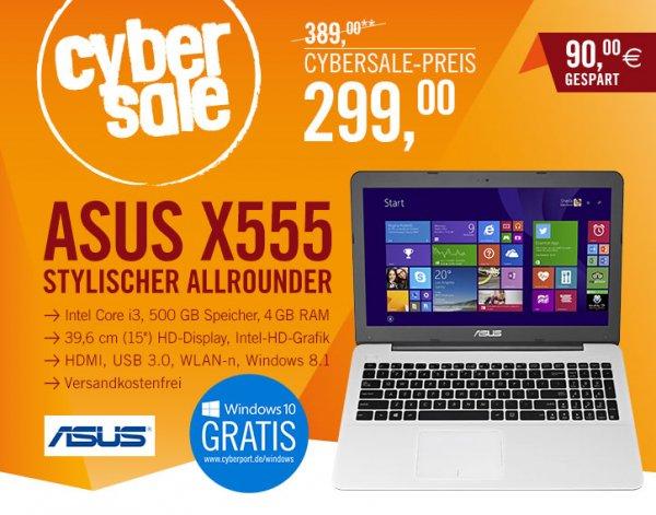 ASUS F555LA-XX502H, Intel Core i3-4030U, 4GB RAM, 500GB Festplatte, 15,6 Zoll Bildschirm, Windows 8.1 für 299€ bei Cyberport.de