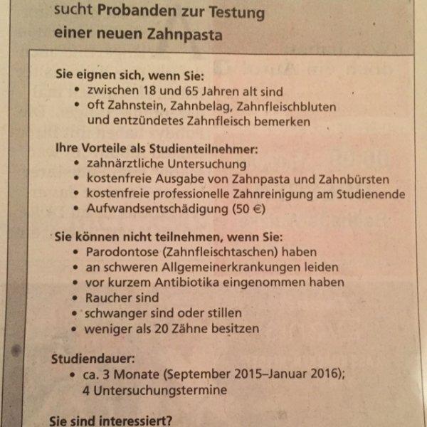 [Lokal Dresden] 50 € fürs Zähneputzen