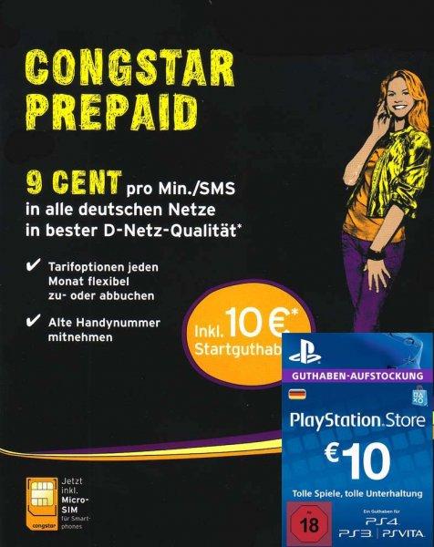 Congstar Pre Paid inkl. 10€ Startguthaben (PSN Guthaben Aufladen)